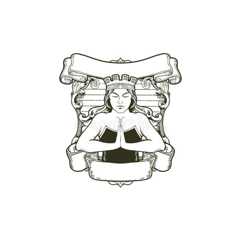Reina o mujeres del estilo del vintage con la plantilla del logotipo de la insignia del vector de la corona ilustración del vector