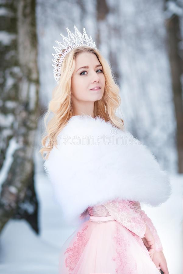 Reina, princesa con la corona Cuento de hadas de la nieve Invierno imagen de archivo libre de regalías