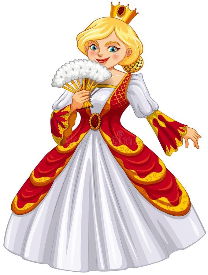 Reina que lleva el vestido rojo ilustración del vector