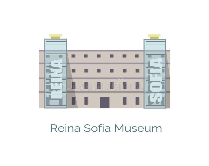 Reina Queen Sofia Museum Located in Madrid, Vector royalty-vrije illustratie