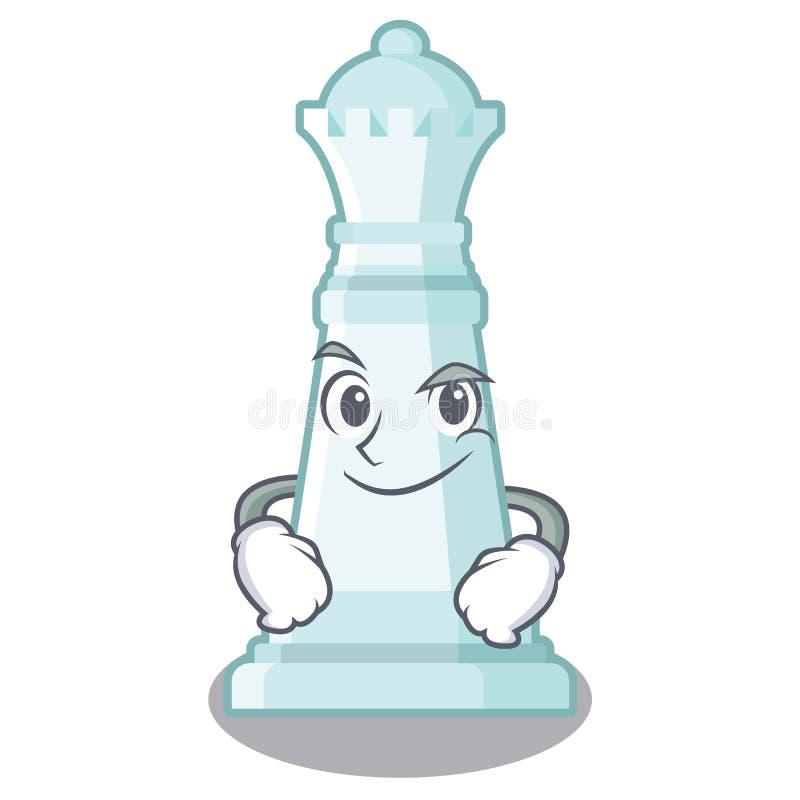 Reina Smirking del ajedrez en el tablero de ajedrez de la mascota ilustración del vector