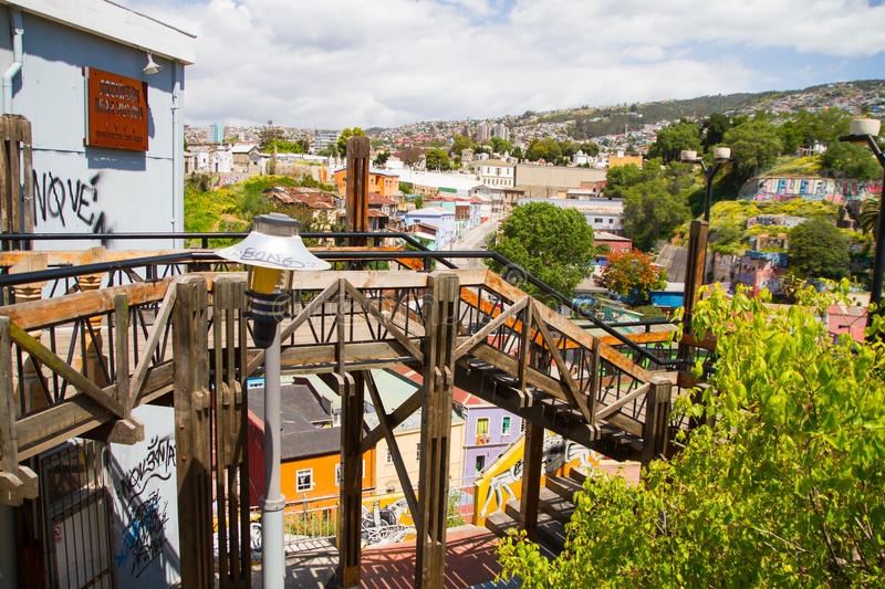 Reina Victoria elevator. VALPARAISO - NOVEMBER 07: Reina Victoria funicular, Alegre districts of the protected UNESCO World Heritage Site of Valparaiso on royalty free stock image