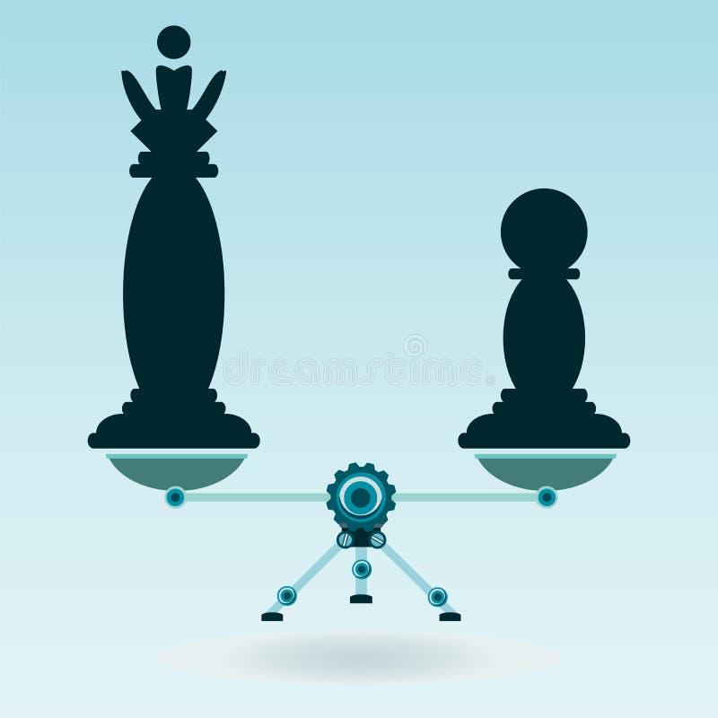 Reina y empeño de los pedazos de ajedrez en las escalas en equilibrio stock de ilustración