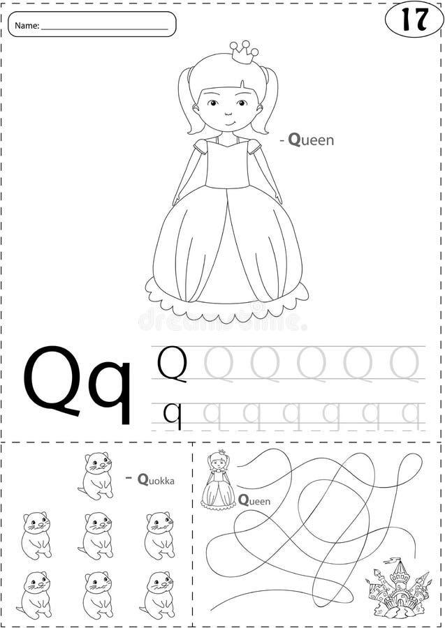 Reina y quokka de la historieta Hoja de trabajo de trazado del alfabeto: escritura de la a libre illustration