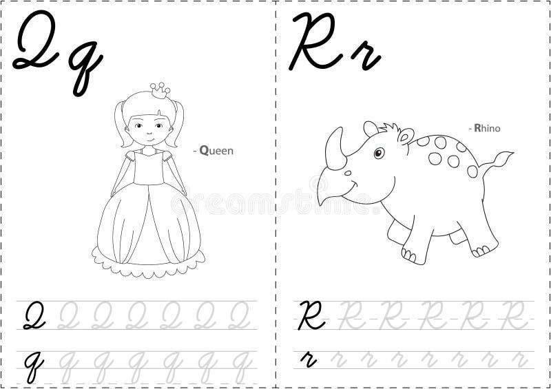 Reina y rinoceronte de la historieta stock de ilustración