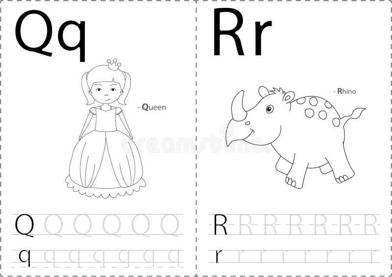 Reina y rinoceronte de la historieta Hoja de trabajo de trazado del alfabeto: A-Z de la escritura ilustración del vector