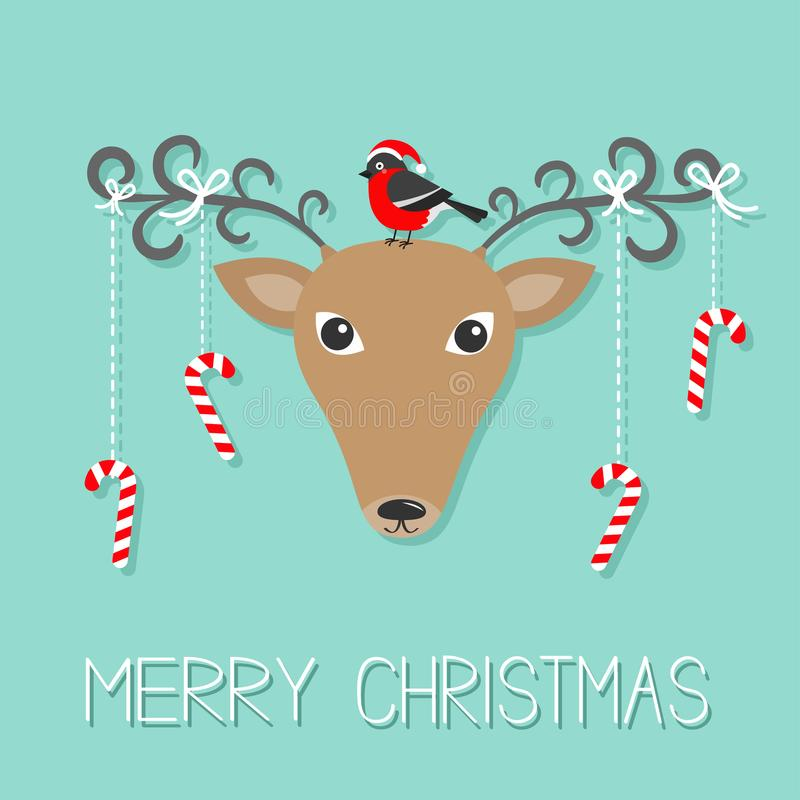 Reindeeer head. Merry christmas. Hanging stick candy cane. Bullfinch winter red feather bird. Cute cartoon deer face with curly ho. Rns. Blue background royalty free illustration