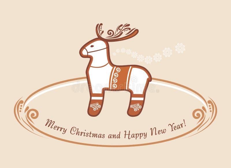reindeer Пряник рождества сбор винограда античной collectible открытки предмета почты родственный иллюстрация штока