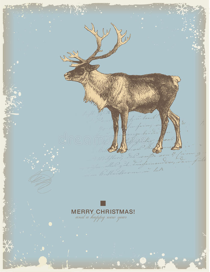 Reindeer. Snowy retro christmas/winter background or greeting card with reindeer