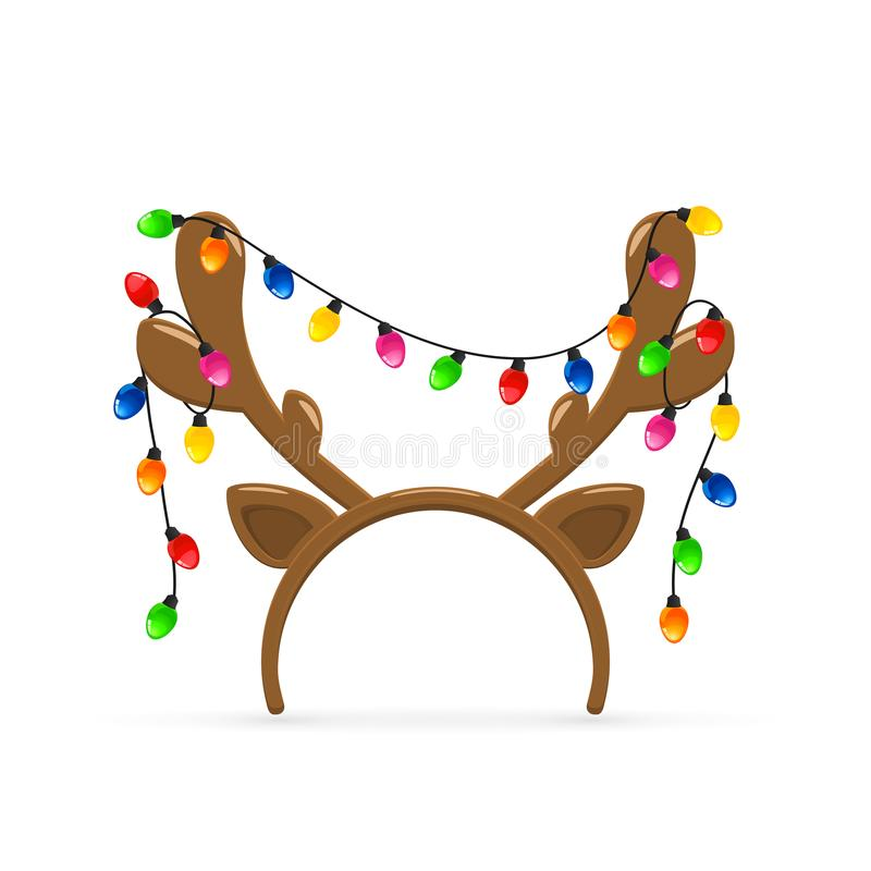 Reindeer antlers with Christmas lights on white background. Christmas mask with brown reindeer antlers and Christmas lights on white background, illustration stock illustration
