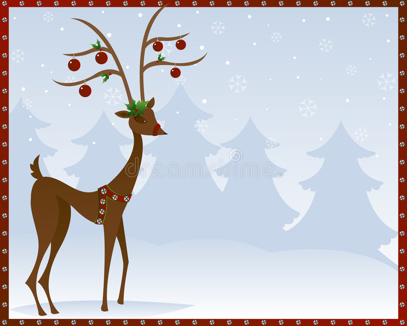 Reindeer In Bells stock illustration