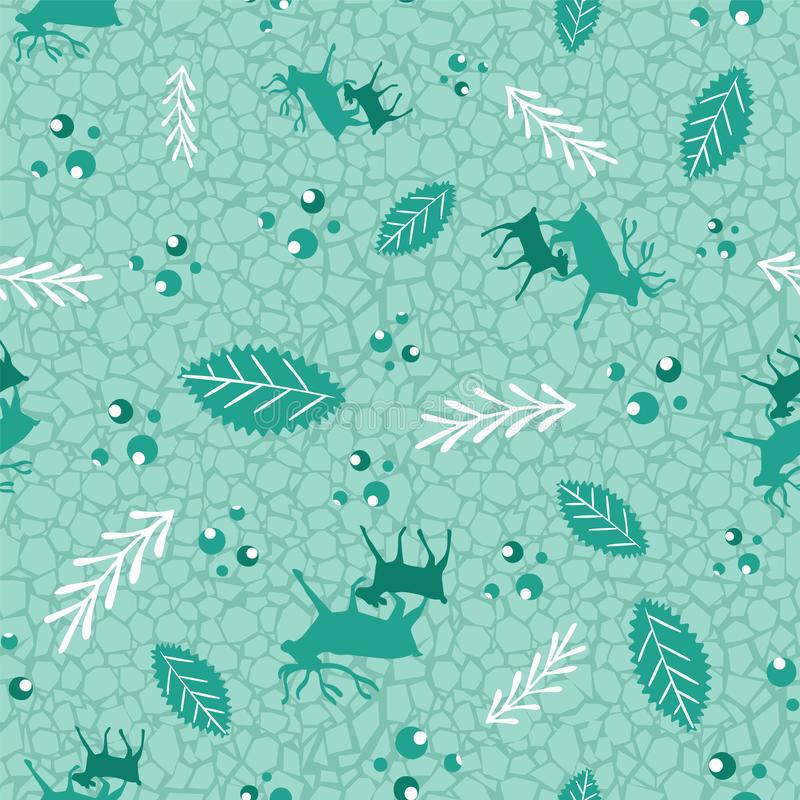 Reindeer and calf Christmas pattern with holly berries, leaves and branches. Scandinavian style seamless vector print. For fabric, wrapping paper, packaging stock illustration