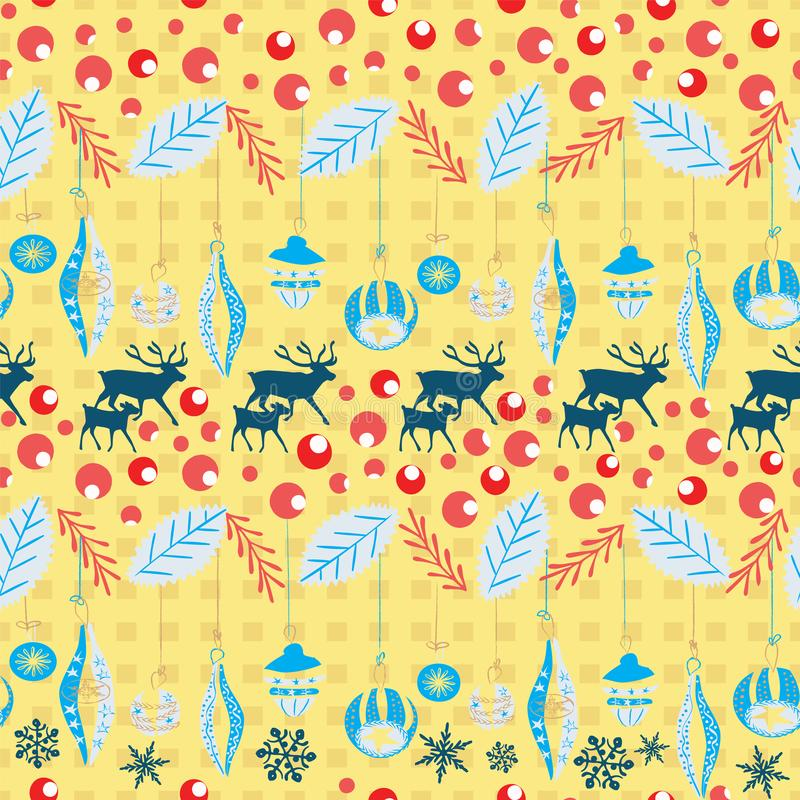 Reindeer and calf Christmas pattern with retro Christmas ornaments, holly berries and leaves. Scandinavian style seamless vector. For fabric, wrapping paper royalty free stock image