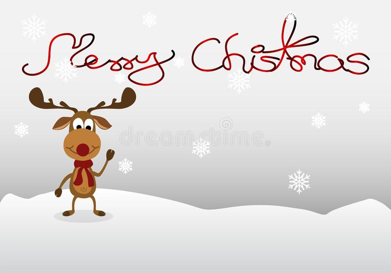 Reindeer Cartoon Cute on winter background vector illustration