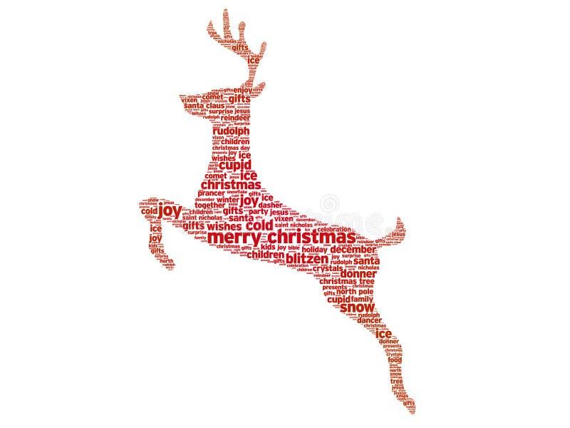 Reindeer Christmas. Word illustration on white background royalty free illustration