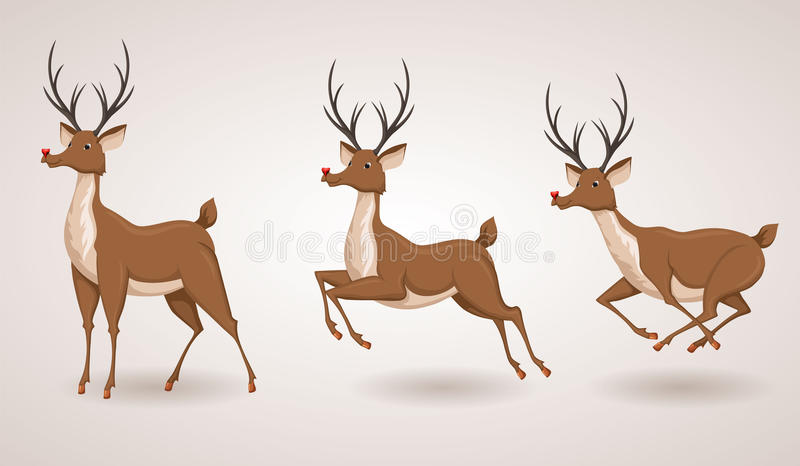Reindeer. Christmas icon set. Moving deer collection. Holiday vector illustration vector illustration
