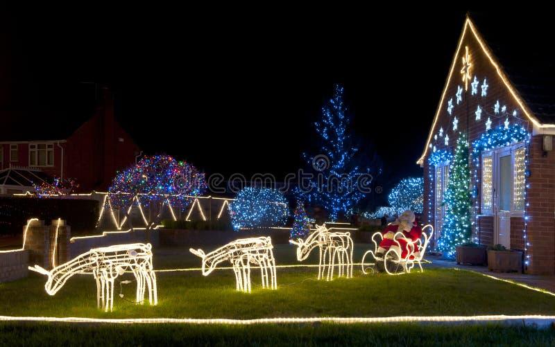 Reindeer Christmas Lights. In a garden stock image