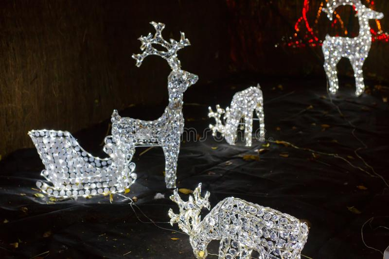 Reindeer christmas lights. Four reindeer christmas lights with background royalty free stock photography