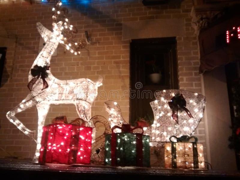 Reindeer Christmas lights. Christmas lights outside with a sleigh and deer stock photos