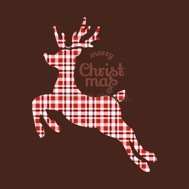 Download Reindeer Christmas In Plaid Fabric Stock Image - Image: 34269061