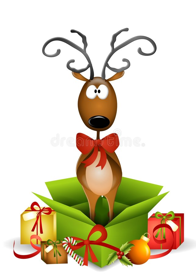 Reindeer Christmas Present. An illustration featuring a reindeer standing in an unwrapped Christmas present box
