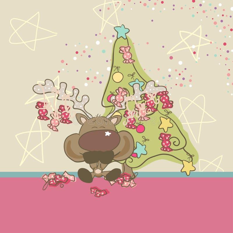 Download Reindeer eats Candies stock vector. Illustration of card - 27851161