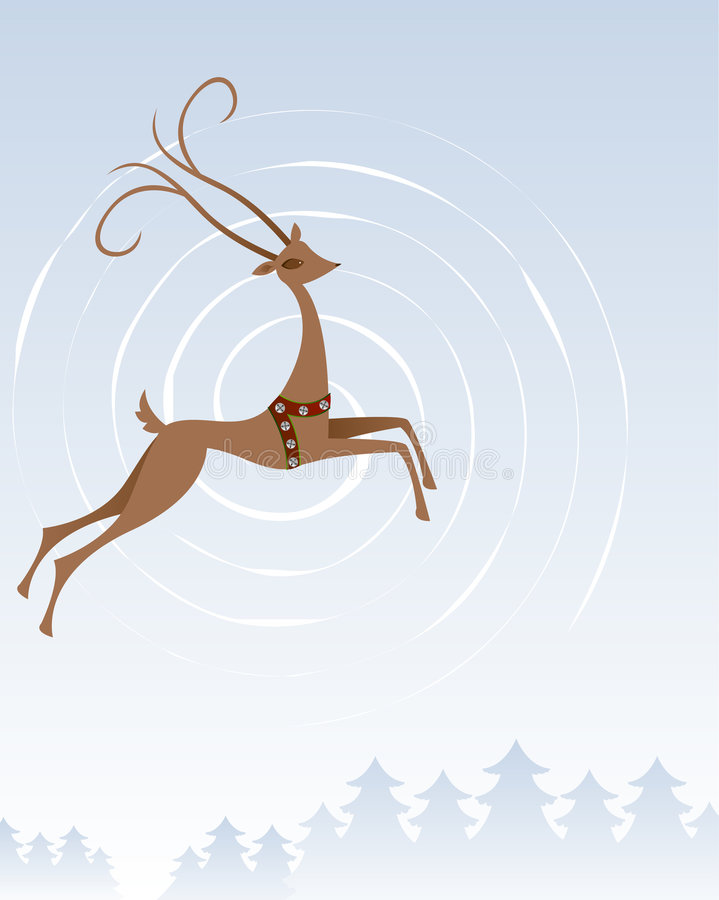Reindeer In Flight royalty free stock photo