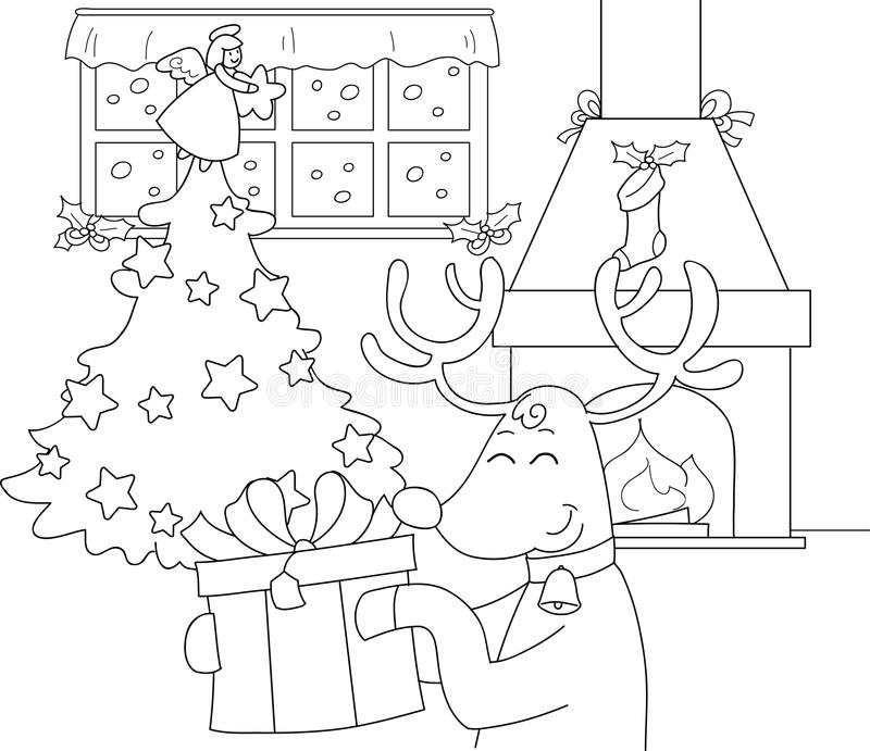 Reindeer with gift and Christmas tree stock images