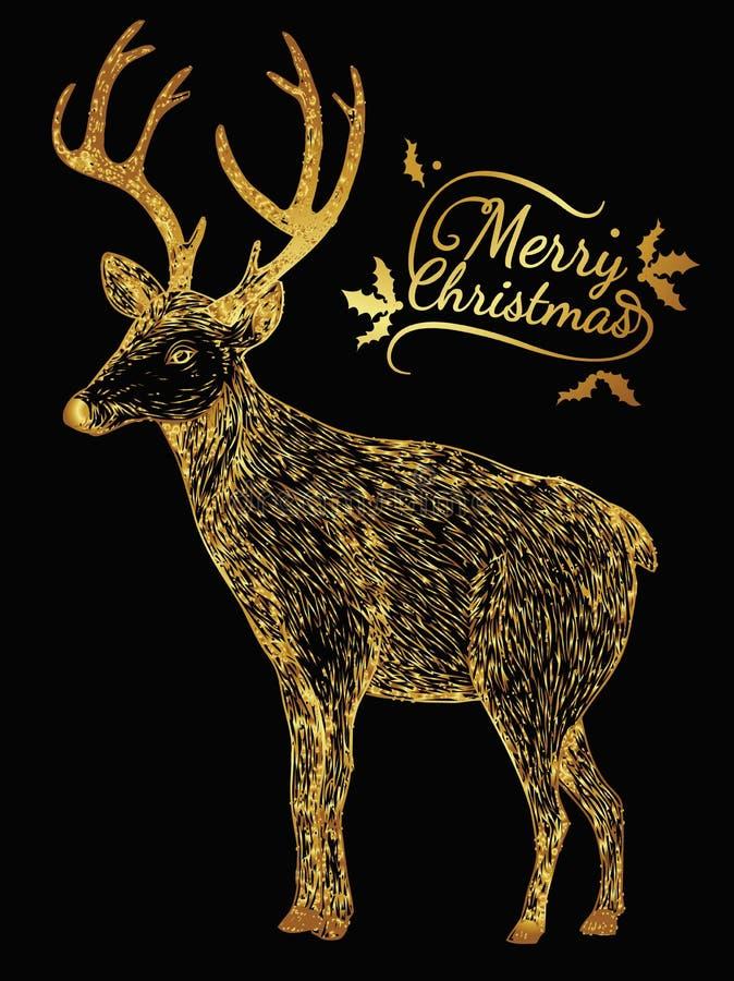 Reindeer gold on black background. royalty free illustration