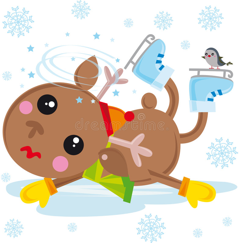 Download Reindeer On Ice Skates Royalty Free Stock Images - Image: 7091829