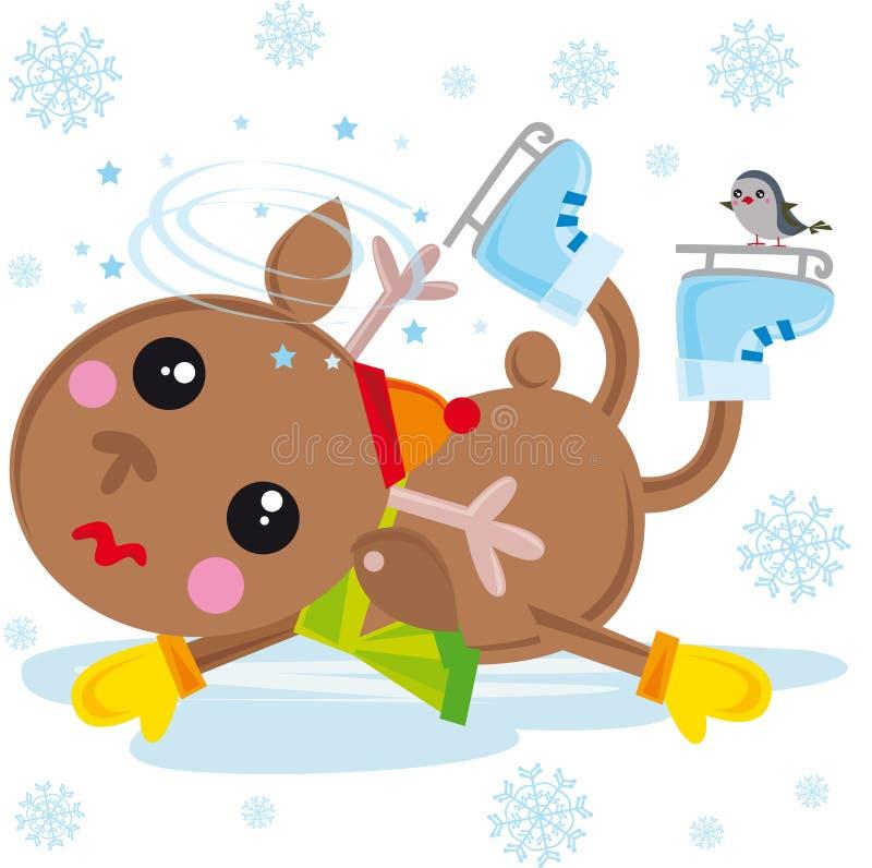 Reindeer on ice skates. Illustration of reindeer falling down with ice skates royalty free illustration