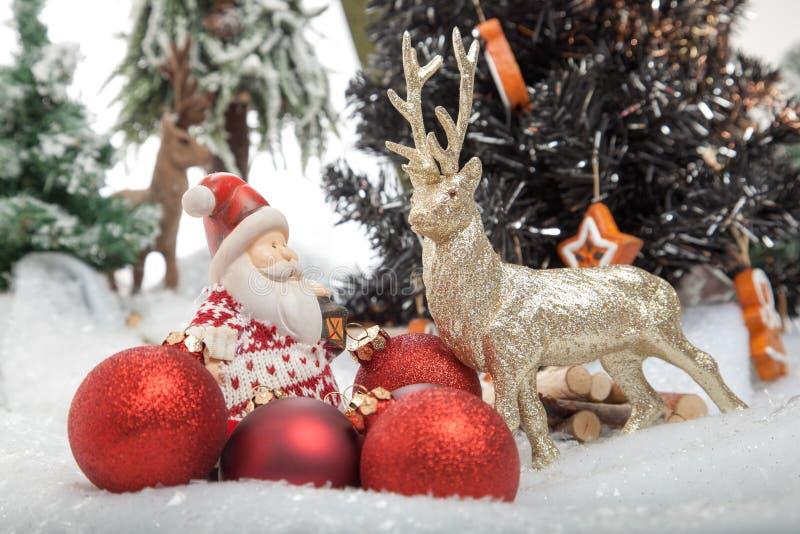 Reindeer meets Santa Claus royalty free stock photos