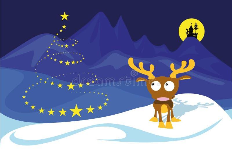 Reindeer on the north pole stock illustration