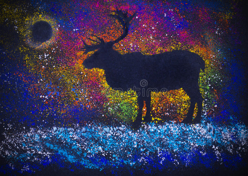 Reindeer and Northern Lights stock illustration