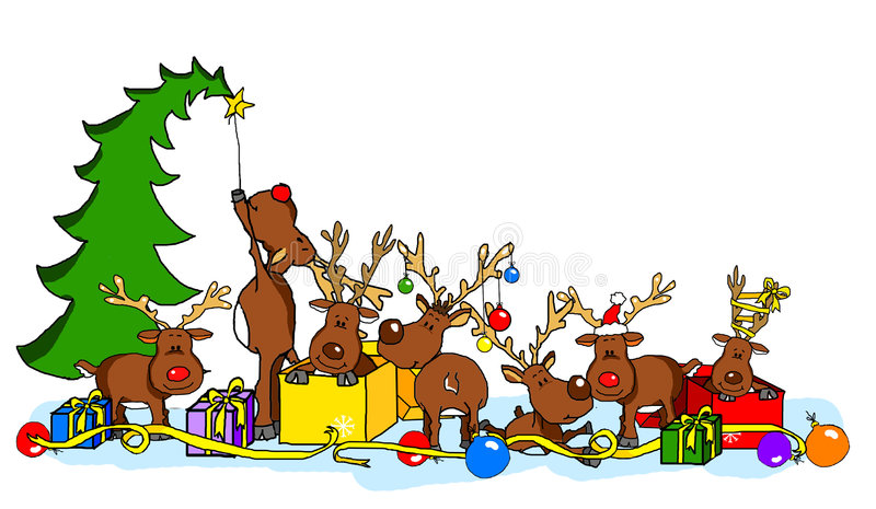 Reindeer party. Isolate on white background vector illustration