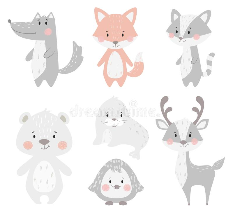 Reindeer, raccoon, seal, wolf, penguin, bear, fox baby winter set. Cute animal illustration. For nursery, t-shirt, kids apparel, Christmas and New year party royalty free illustration