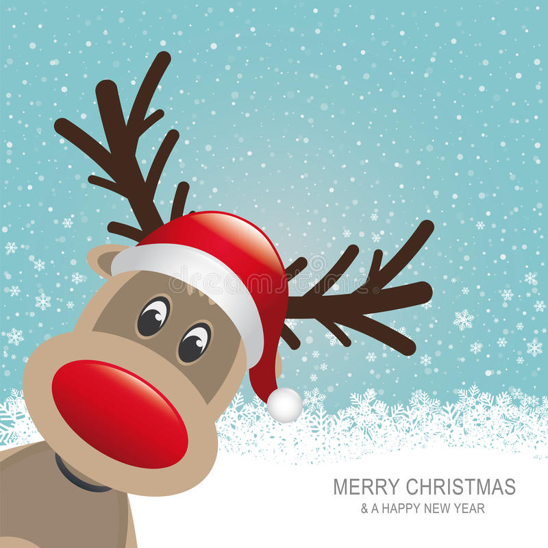 Download Reindeer Red Hat Snow Blue Background Royalty Free Stock Photography - Image: 27808437