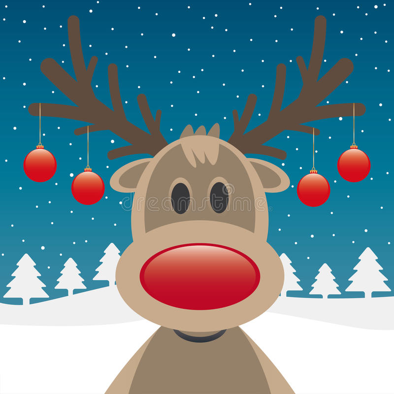 Download Reindeer Red Nose And Christmas Balls Stock Illustration - Image: 26672779