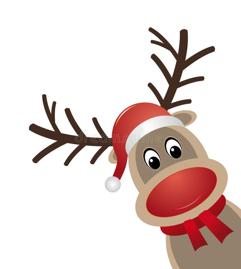 Reindeer red nose scarf santa claus hat vector illustration