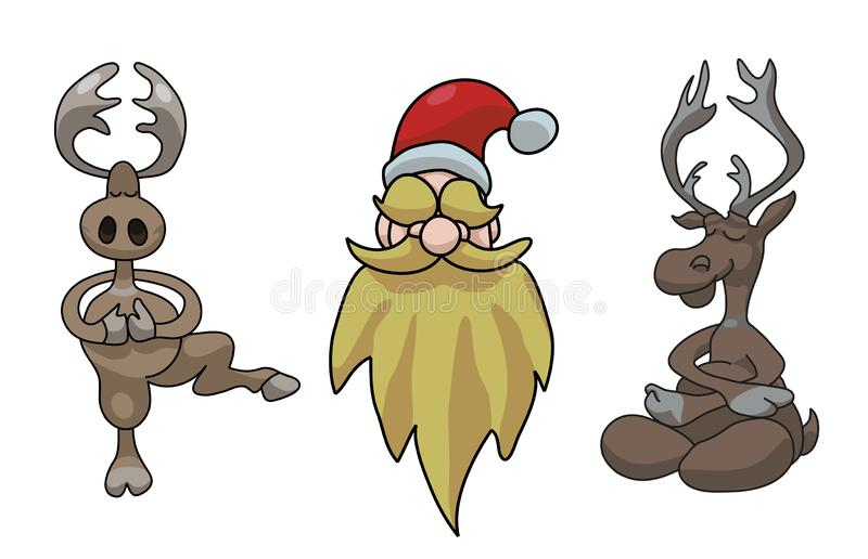 Reindeer resting and dancing, Santa Claus smiling, vector illustration stock illustration