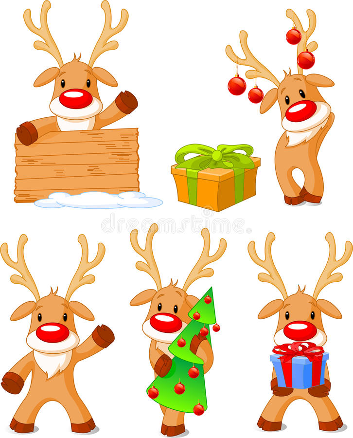 Download Reindeer Rudolph stock vector. Image of snow, gift, nose - 11420308