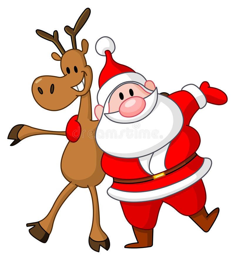 Reindeer And Santa Stock Photo