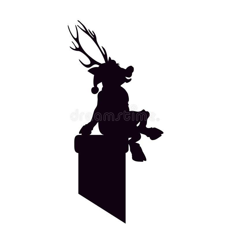 Reindeer Santa Claus is a black silhouette sitting on chimney. Artwork Happy Christmas. The roof vector illustration Young fawn.  vector illustration