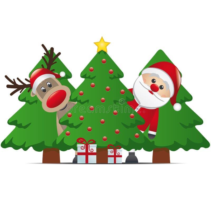 Reindeer santa claus christmas tree gift. Box royalty free illustration