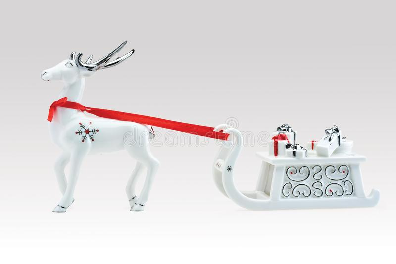 Reindeer with Santa's sleigh stock photography