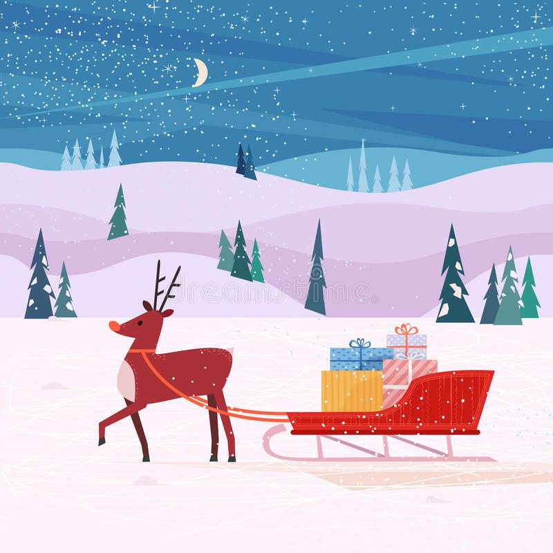 Reindeer with Santa Sleigh stock illustration