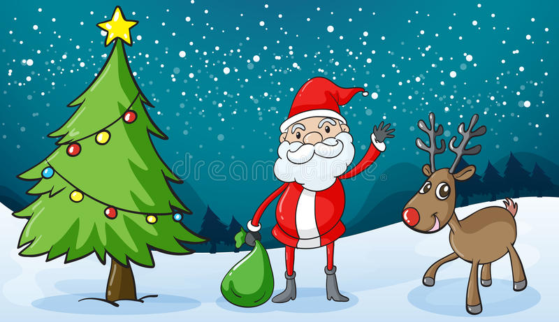 Download A reindeer and santaclause stock vector. Image of gifts - 31911745