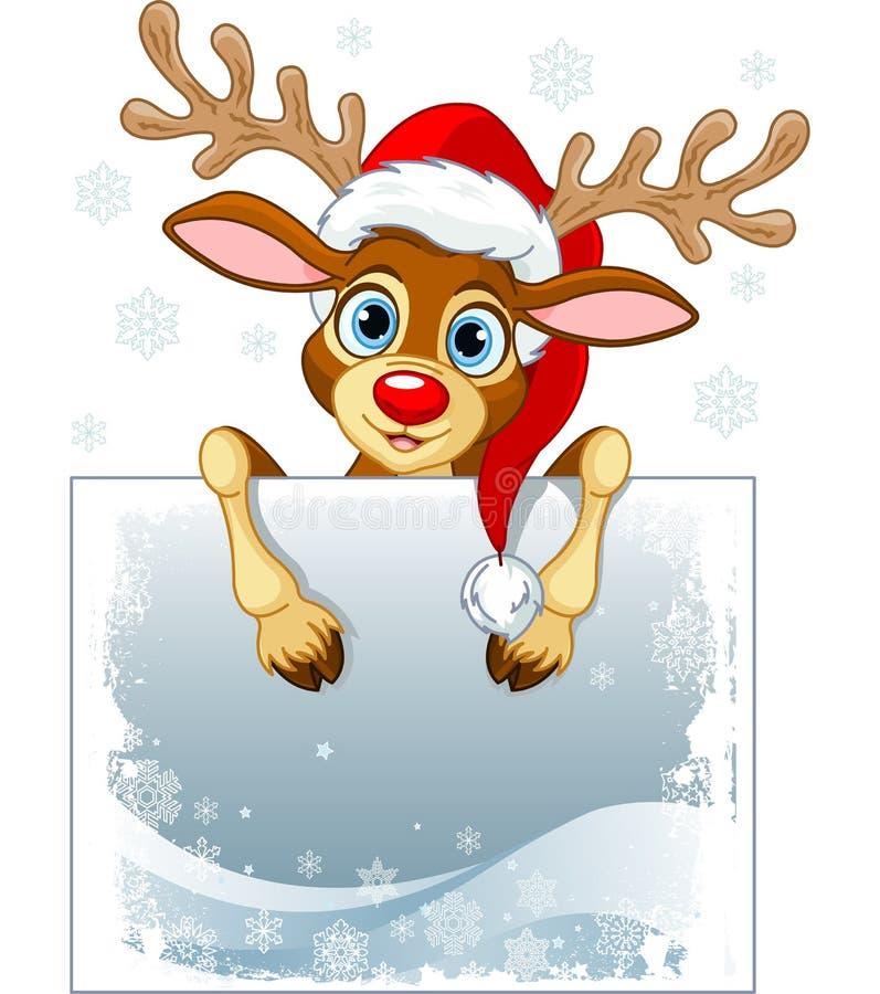 Reindeer Sign. Christmas reindeer holding blank sign vector illustration