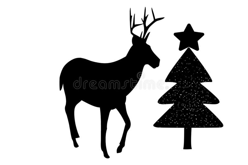 Reindeer silhouette with Christmas tree isolated on white background. Illustration design stock illustration