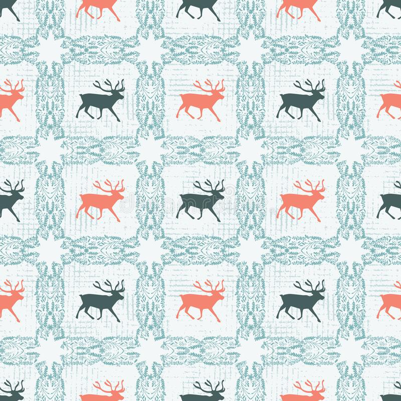 Reindeer silhouette quilt pattern with ornate checked floral square. Nordic Scandinavian folk art. Vector vector illustration